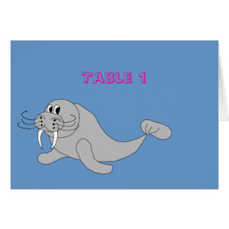 Walrus Table Number Card Template
