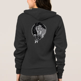 walrus with afro traditional rope frame and rose hoodie