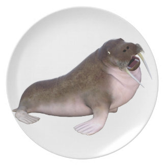Walrus with quizzical look dinner plate