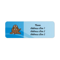 Walrus with Water Background Label