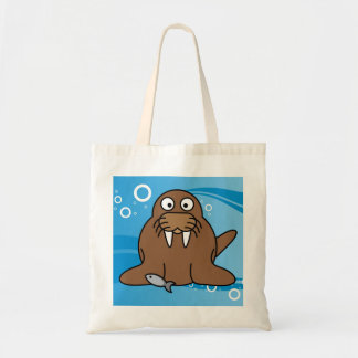 Walrus with Water Background Tote Bag
