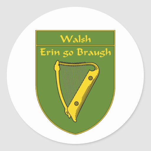 Walsh 1798 Flag Shield Classic Round Sticker