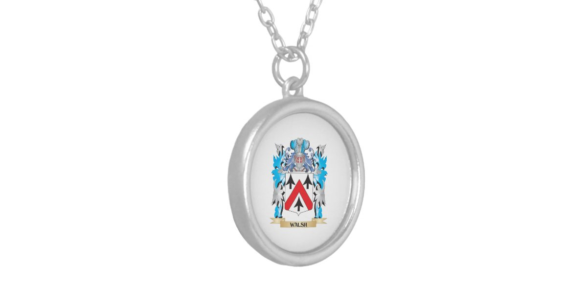 walsh coat of arms family crest pendant necklace