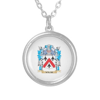 Walsh Coat of Arms - Family Crest Silver Plated Necklace