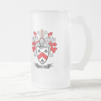 Walsh Coat of Arms Frosted Glass Beer Mug