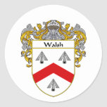 Walsh Coat of Arms (Mantled) Classic Round Sticker