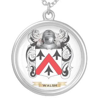 Walsh Family Crest (Coat of Arms) Silver Plated Necklace