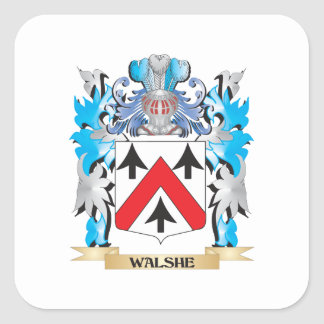 Walshe Coat of Arms - Family Crest Square Sticker