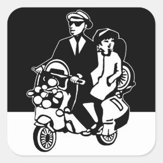Walt Jabsco & Beat Betty on a scooter II Square Sticker