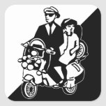 Walt Jabsco & Beat Betty on a scooter Square Stickers