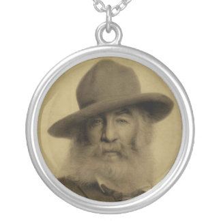 Walt Whitman in Chalk on Paper Round Pendant Necklace