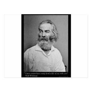 Walt Whitman Joy With You Love Quote Mugs Tees etc Postcard