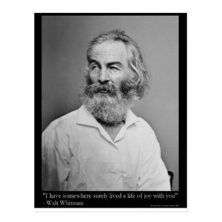 Walt Whitman Joy With You Love Quote Mugs Tees etc Post Card