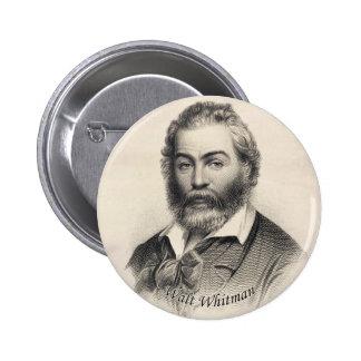 Walt Whitman que graba el botón de Pinback Pin Redondo De 2 Pulgadas