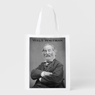 Walt Whitman Seated Portrait Photograph Age 47 Reusable Grocery Bag