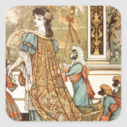 Walter Crane, Beauty and the Beast, 1875 Square Sticker