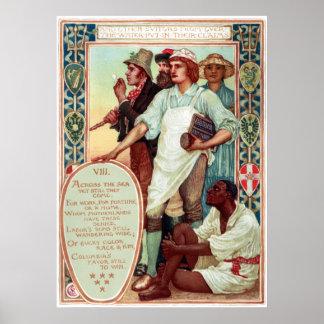 Walter Crane Columbia's Courtship Immigrants Poster