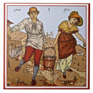 "Walter Crane ""Jack & Jill"" c1890 Repro Tile"