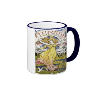 "Walter Crane ""Jugend"" Art Nouveau Ringer Coffee Mug"