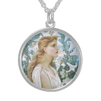 Walter Crane: Lilies Round Pendant Necklace
