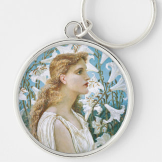 Walter Crane: Lilies Silver-Colored Round Keychain