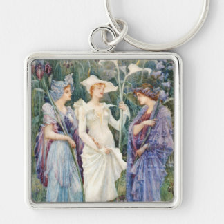 Walter Crane: Signs of Spring Silver-Colored Square Keychain