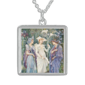 Walter Crane: Signs of Spring Square Pendant Necklace