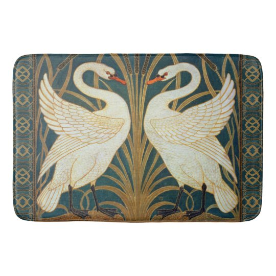 Walter Crane Swan Rush And Iris Art Nouveau Bath Mat