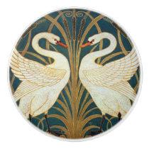 Walter Crane Swan, Rush And Iris Art Nouveau Ceramic Knob