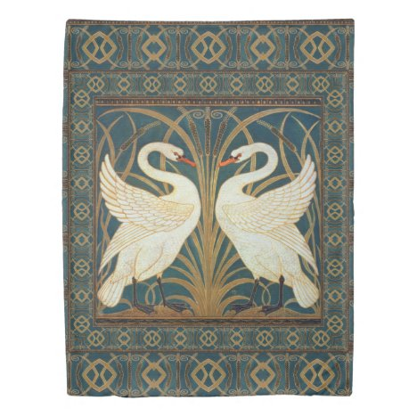 Walter Crane Swan, Rush And Iris Art Nouveau Duvet Cover