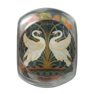 Walter Crane Swan, Rush And Iris Art Nouveau Glass Jar