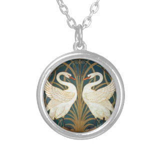 Walter Crane Swan, Rush And Iris Art Nouveau Silver Plated Necklace