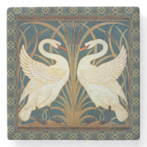 Walter Crane Swan, Rush And Iris Art Nouveau Stone Coaster
