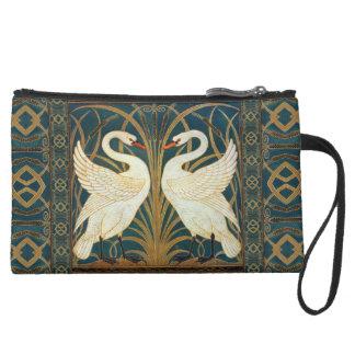 Walter Crane Swan, Rush And Iris Art Nouveau Suede Wristlet Wallet