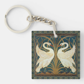 Walter Crane Swan, Rush And Iris Double-Sided Square Acrylic Keychain