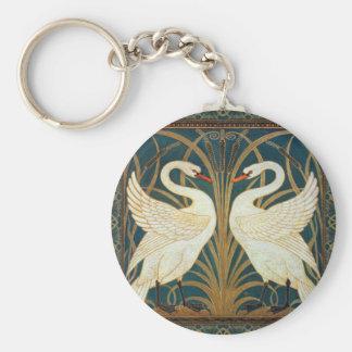 Walter Crane Swan, Rush And Iris Keychain