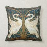 Walter Crane Swan, Rush And Iris Pillow
