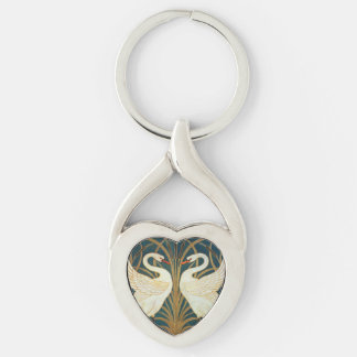 Walter Crane Swan, Rush And Iris Silver-Colored Heart-Shaped Metal Keychain