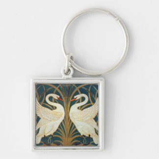 Walter Crane Swan, Rush And Iris Silver-Colored Square Keychain