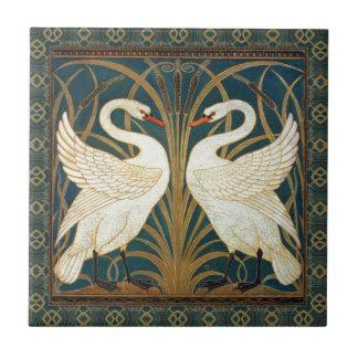 Walter Crane Swan, Rush And Iris Small Square Tile