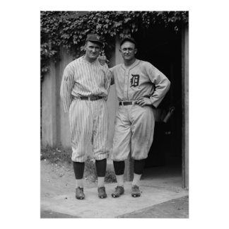 Walter Johnson and Ty Cobb Vintage Baseball Poster