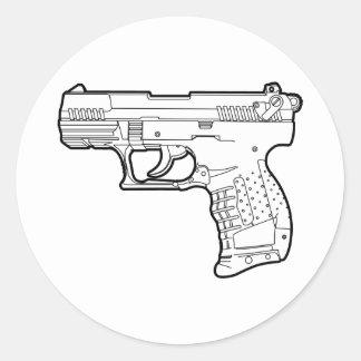 walter p22 gun firearm stencil graphic t-shirt classic round sticker