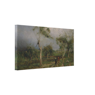 Walter Withers - The storm Stretched Canvas Print