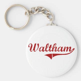 Waltham Massachusetts Classic Design Basic Round Button Keychain
