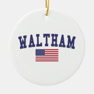 Waltham US Flag Ceramic Ornament