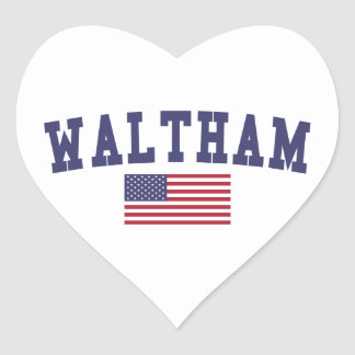Waltham US Flag Heart Sticker