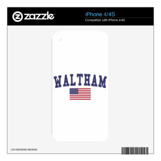 Waltham US Flag iPhone 4S Skin