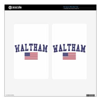 Waltham US Flag Kindle Fire Decal