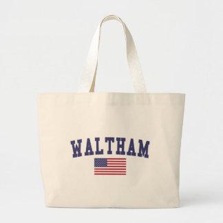 Waltham US Flag Large Tote Bag