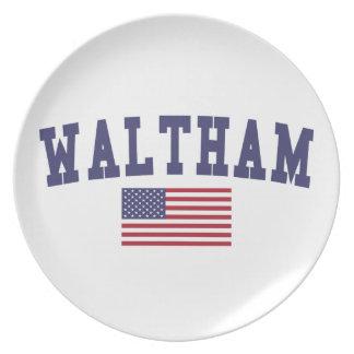 Waltham US Flag Melamine Plate